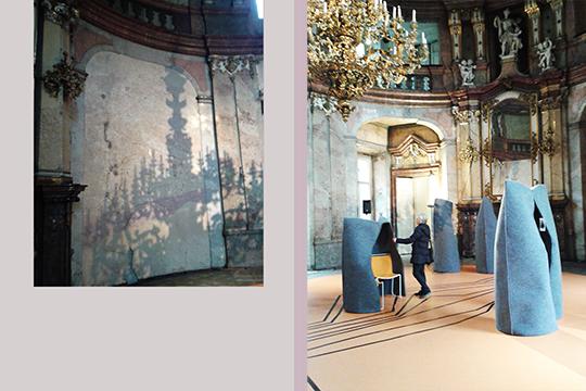 Baroque hall of Colloredo-Mansfeldský Palace, Prague, with Matali Crasset Voyage to Uchronia, Designblok '13 (Photograph: author's own)